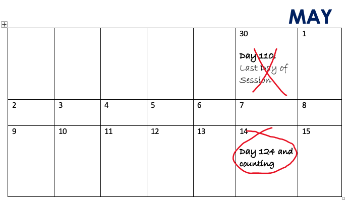 Calendar with 110th Day (April 30) crossed out with red X, and 124th Day (May 14) circled in red.