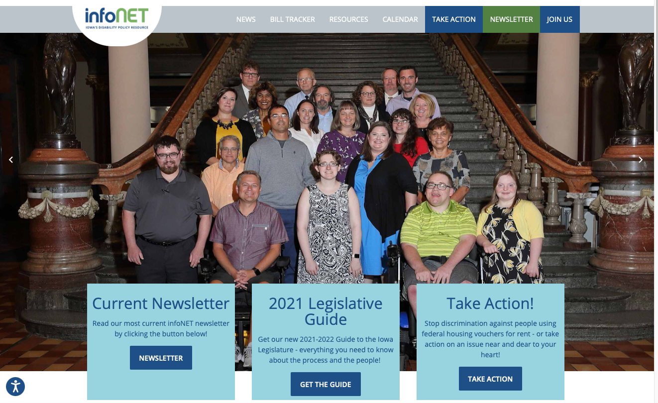 Front page of infonet website with large photo of Iowa DD Council members on steps of Capitol.